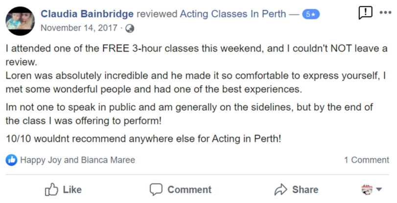 Acting Classes In Perth Facebook Review By Claudia Bainbridge