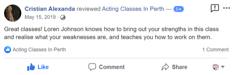 Acting Classes In Perth Facebook Review By Christian Alexanda