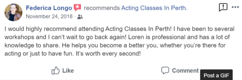 Acting Classes In Perth Facebook Review By Federica Longo