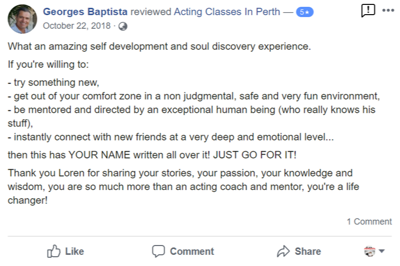 Acting Classes In Perth Facebook Review By Georges Baptista